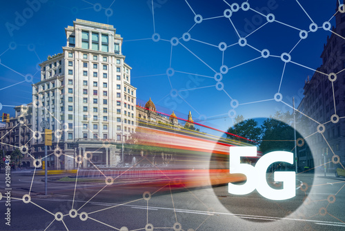 Fotobehang Barcelona Digital composite of 5G with Barcelona on the background.5G world , High speed mobile web technology concept