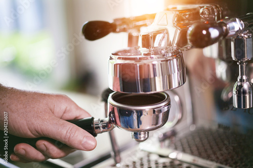 Poster Coffee Filter holder preparation for fresh espresso