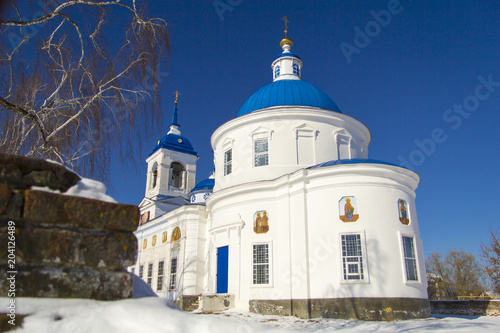 White-stone church in the village