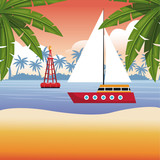 Beach and summer cartoon elements vector illustration graphic design - 204127290