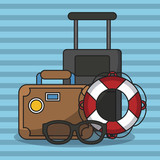 Vacations and travel elements cartoons vector illustration graphic design - 204128686
