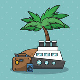 Vacations and travel elements cartoons vector illustration graphic design - 204129041