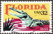 Alligator of Florida on postage stamp