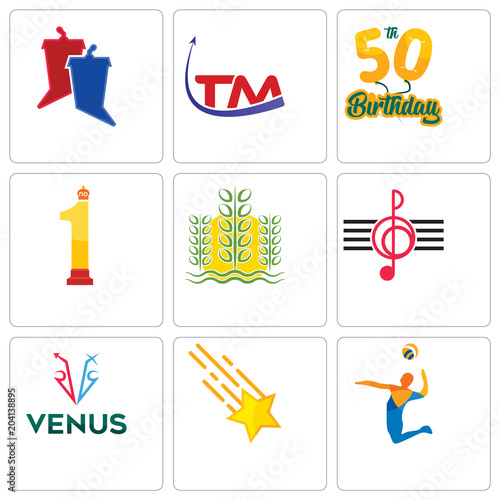 749deca6a Set Of 9 simple editable icons such as volley, shooting stars, venus ...
