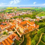 Medieval town Horsovsky Tyn founded in the  1184. The downtown with fascinating monumental renaissance castle. Czech Republic. Aerial view of a landmark in Czech Republic. - 204141647