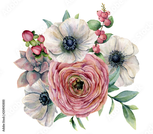 Watercolor succulent, ranunculus and anemone bouquet. Hand painted flowers, eucaliptus leaves, berries and succulent branch isolated on white background. Ilustration for design, print or background. - 204143800