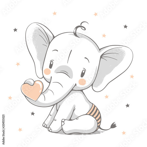 Cute elephant cartoon hand drawn vector illustration. Can be used for  t-shirt print, kids wear fashion design, baby shower celebration greeting and invitation card.