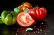 Segment of a sliced juicy ripe red tomato