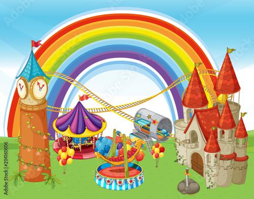 Plexiglas Kids An Amusement Park and Rainbow