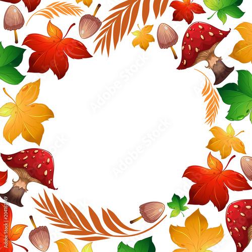 Plexiglas Kids Autumn leaf and mushroom Template