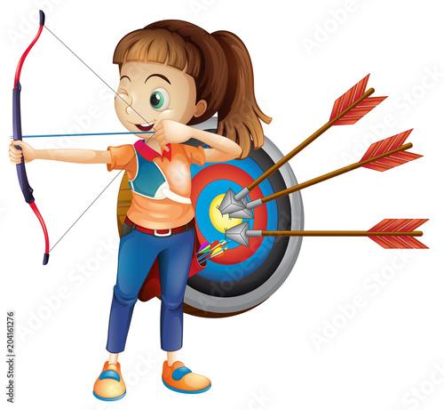 Plexiglas Kids An Archer Girl with White Background