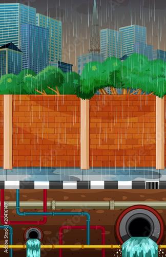City Underground Water Pipe System