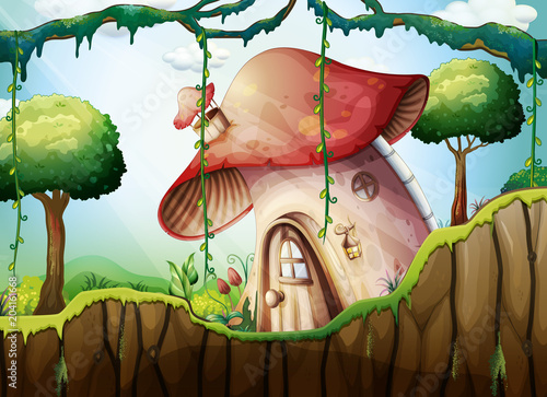 Plexiglas Kids Mushroom House in the Rainforest