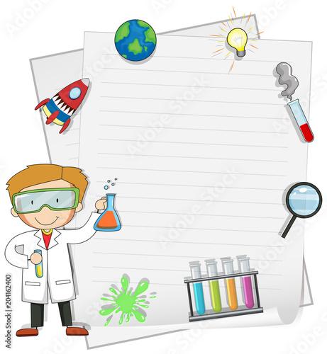 Plexiglas Kids Male Scientist with Note Template