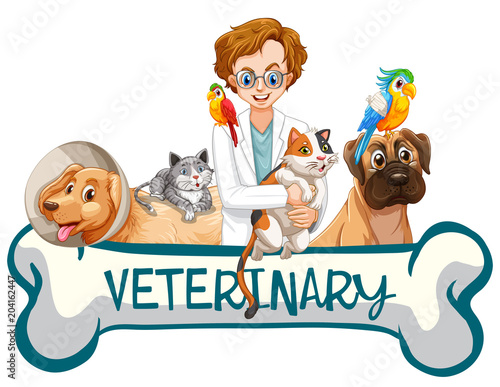 Plexiglas Kids A Banner of Veterinary Clinic
