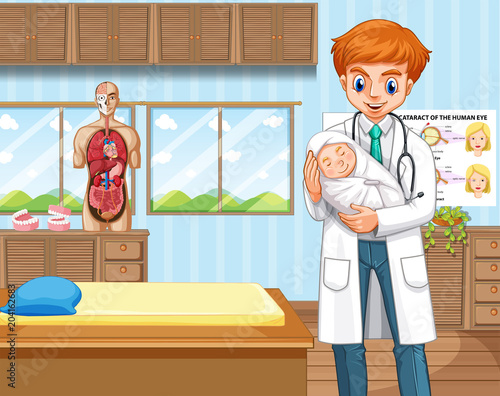 Plexiglas Kids Doctor and baby in hospital