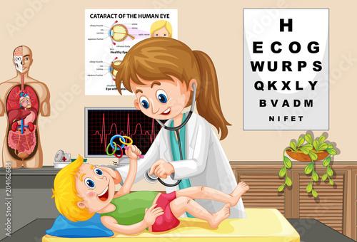 Plexiglas Kids Doctor Check up a Baby
