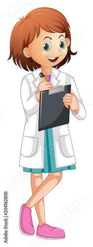 Plexiglas Kids A Female Doctor Writing Report