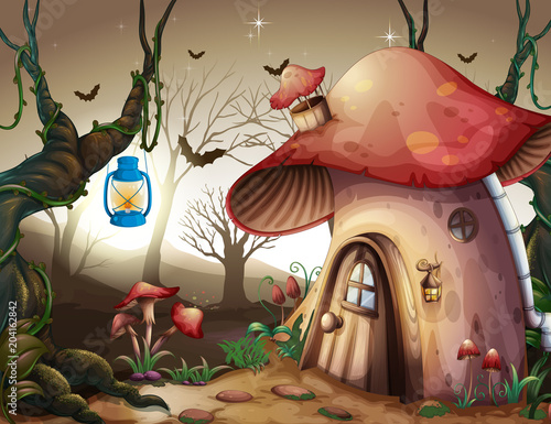 Plexiglas Kids Mushroom House in the Dark Forest