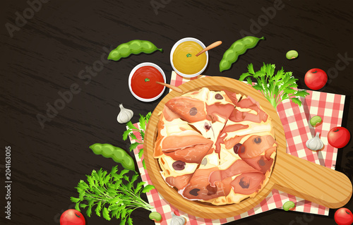 Plexiglas Kids Spanish Ham Pizza Top View