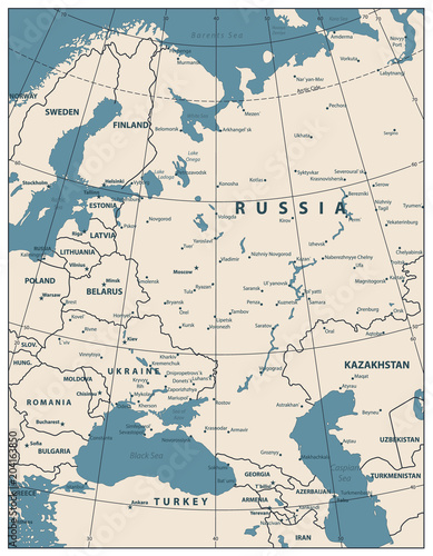 Fototapeta Eastern Europe Map Retro Color