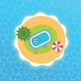 top view of vector tropical island with swimming pool - 204166428