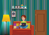 vector living room with girl sitting on the couch - 204166436