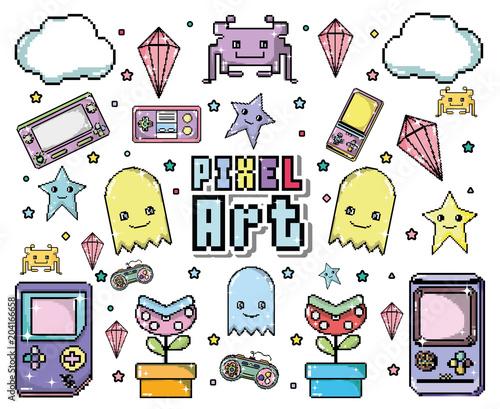 Pixel art cartoon