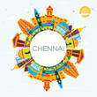 Chennai India Skyline with Color Landmarks, Blue Sky and Copy Space. - 204176487