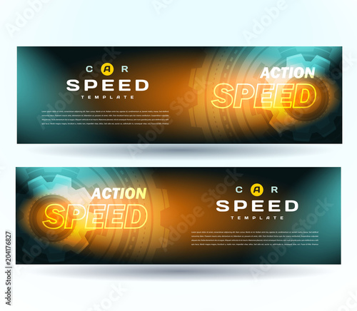 Banner speed. Car top gear element