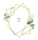 Watercolor vector composition from the branches of eucalyptus and gold geometric frame. - 204183226