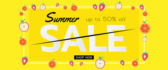 Summer sale banner with pieces of fruit. Seasonal design advertising paper cut style. © chaliya