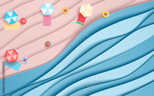 Top view blue sea and beach paper waves with umbrella beach and fruits rubber ring. Paper cut style - 204196023