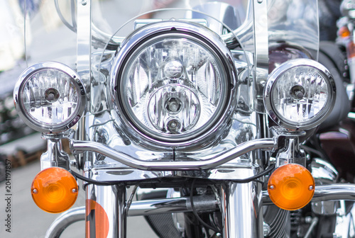 Chromed motorcycle front view