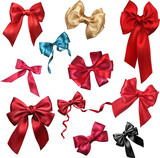 Colorful realistic satin bows isolated on white. - 204198494
