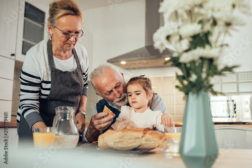 Breakfast with their granddaughter