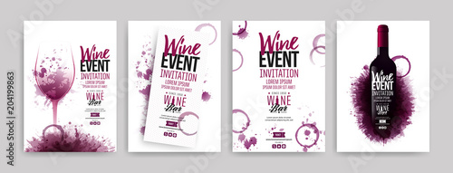 Collection of templates with wine designs. Brochures, posters, invitation cards, promotion banners, menus. Wine stains background. - 204199863