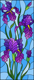 Illustration in stained glass style with purple bouquet of irises, flowers, buds and leaves on blue background
