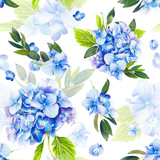 Seamless pattern, blooming blue hydrangea and green foliage. Illustration by markers, beautiful floral composition on a white background. Imitation of watercolor drawing. - 204203268