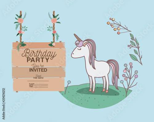 Fotobehang Lichtblauw invited birthday party card with unicorn vector illustration design