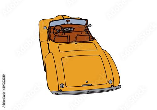 Fotobehang Auto yellow sports car retro vector