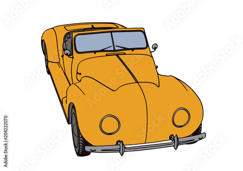 Plexiglas Auto yellow sports car retro vector