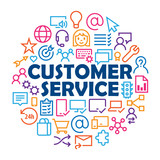 CUSTOMER SERVICE Symbols in Circle - 204223095