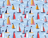 Seamless vector pattern with hand drawn sailing yachts and seagulls. Summer bright background for fabric design. - 204223801