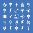 Set of 25 electricity filled icons