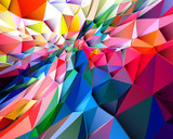 Colorful low poly triangular shapes geometric background with vibrant color tone. - 204225641