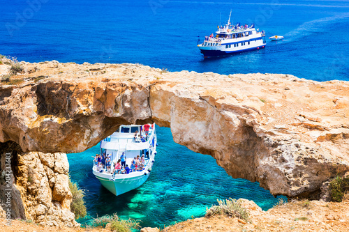 Fotobehang Freesurf Cyprus island - boat trips in grots and caves.