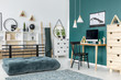 Green teenager's room interior