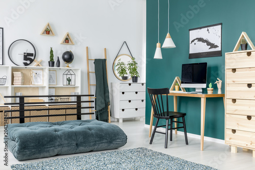Green teenager's room interior