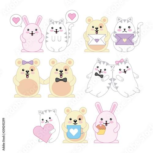 kawaii animals mouse kitty cat and rabbit cartoon vector illustration - 204243299
